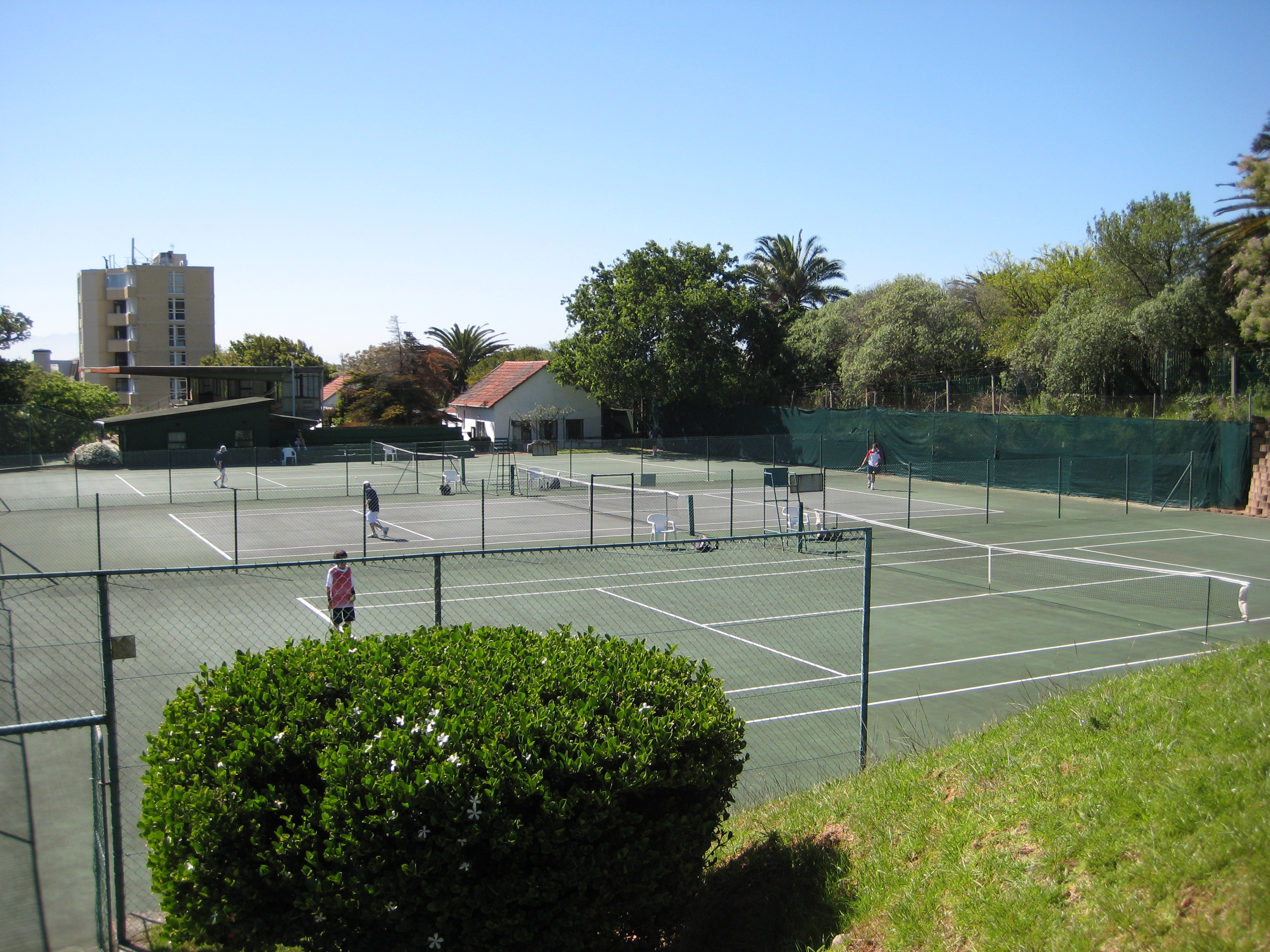 Boys playing tennis